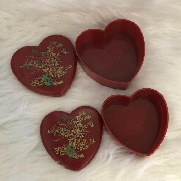 2 red asian nesting heart trinket boxes made in ho